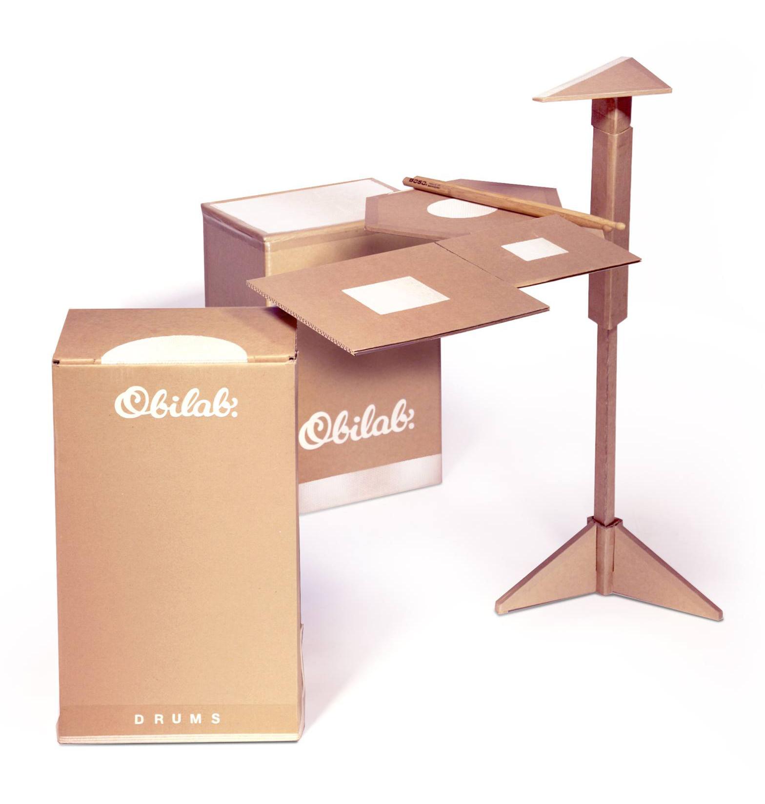 Cardboard drumkit by Obilab