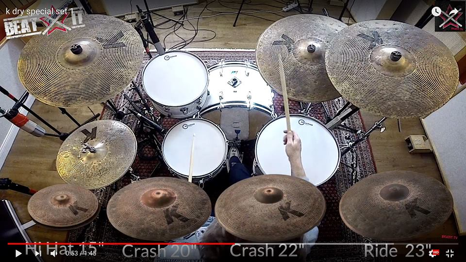 Radek Owczarz tests a Zildjian K Custom Special Dry Set