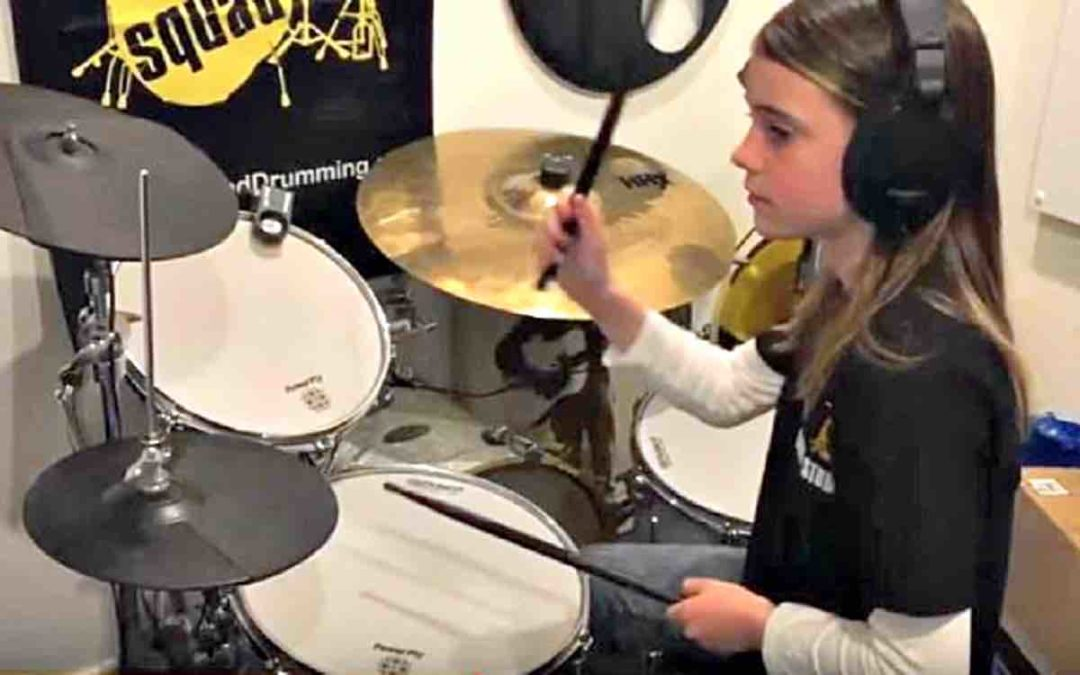 Girl with Asperger's syndrome loves to drum